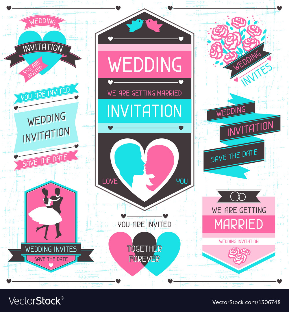 Wedding invitation retro set of design elements vector | Price: 3 Credit (USD $3)
