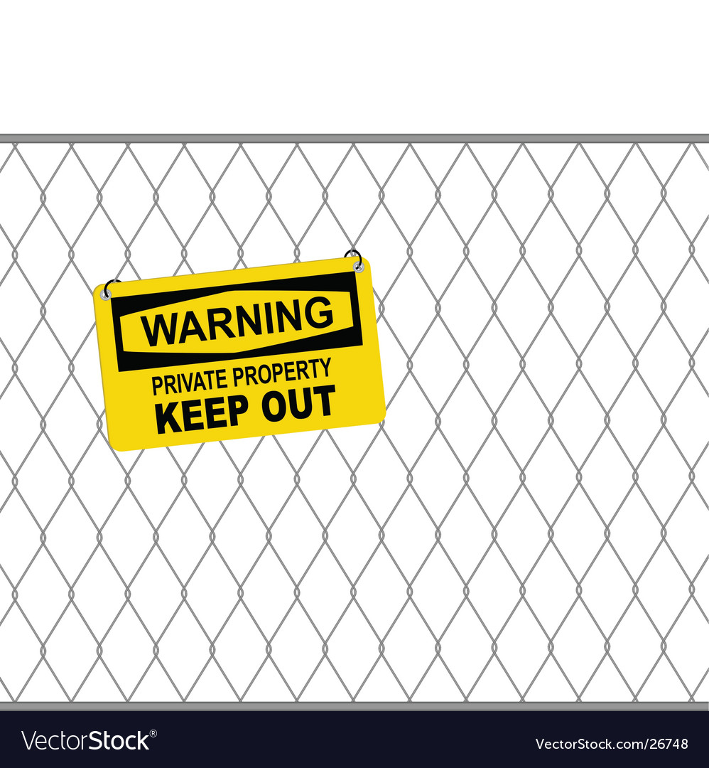 Wire fence and warning sign vector | Price: 1 Credit (USD $1)