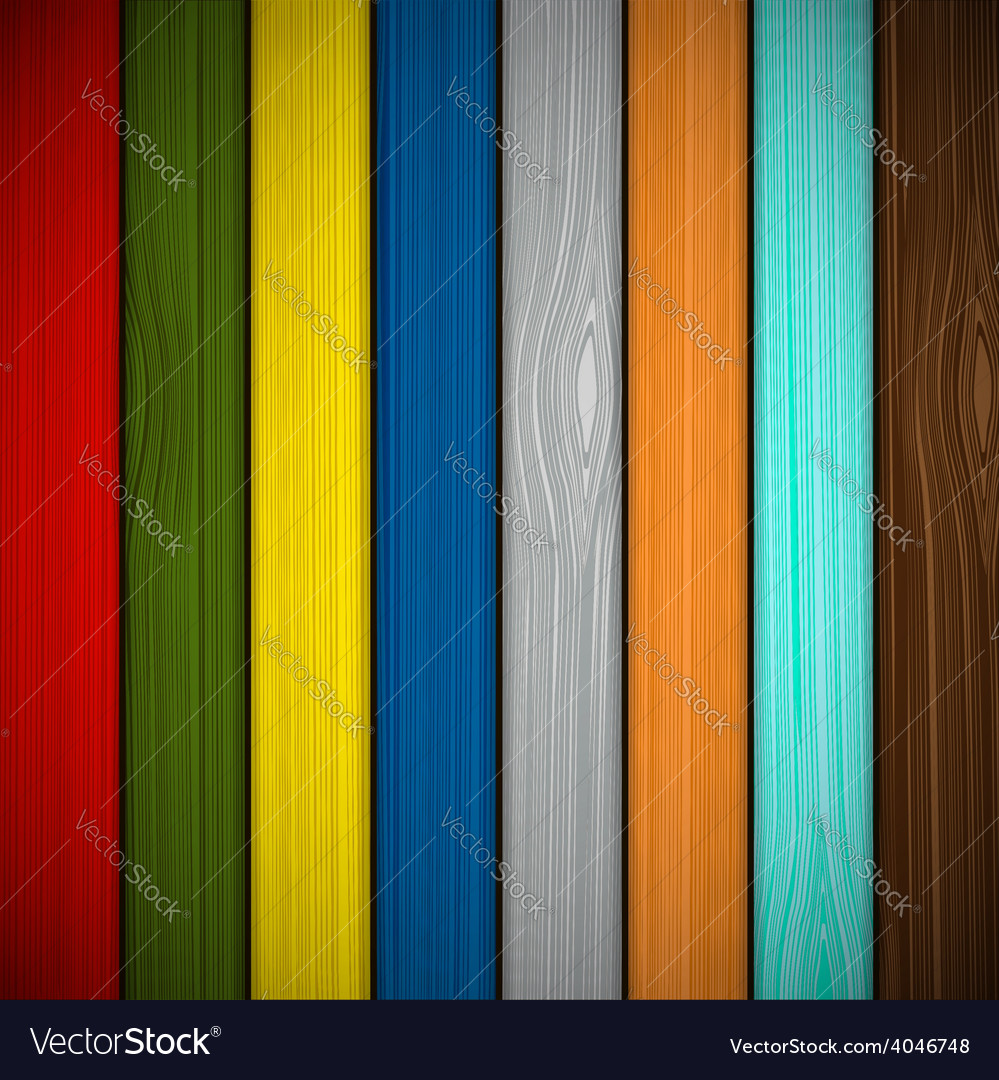 Wooden fence painted in different colors vector | Price: 1 Credit (USD $1)