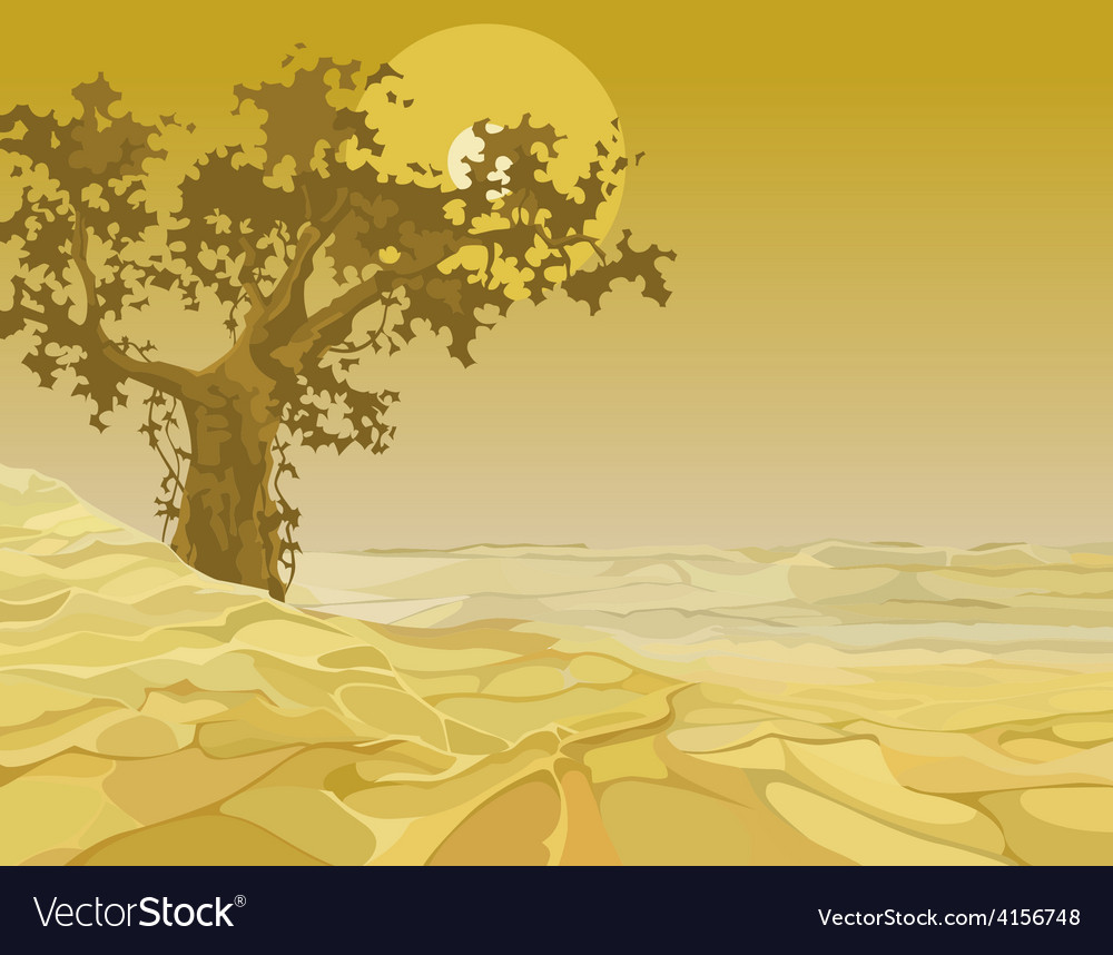 Yellow landscape tree in the desert vector | Price: 3 Credit (USD $3)