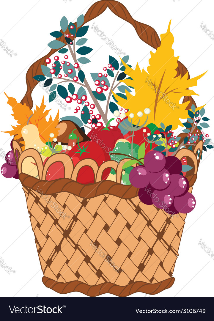 Basket of vegetables2 vector | Price: 1 Credit (USD $1)