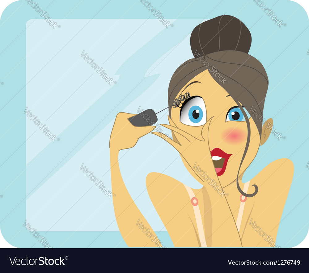 Cute brunette applying mascara or eyeliner vector | Price: 3 Credit (USD $3)