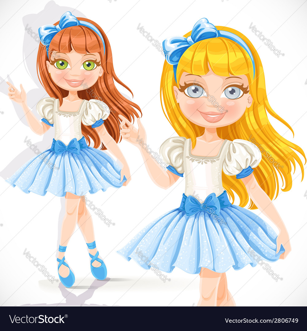 Cute little ballerina girl in blue dress isolated vector | Price: 3 Credit (USD $3)