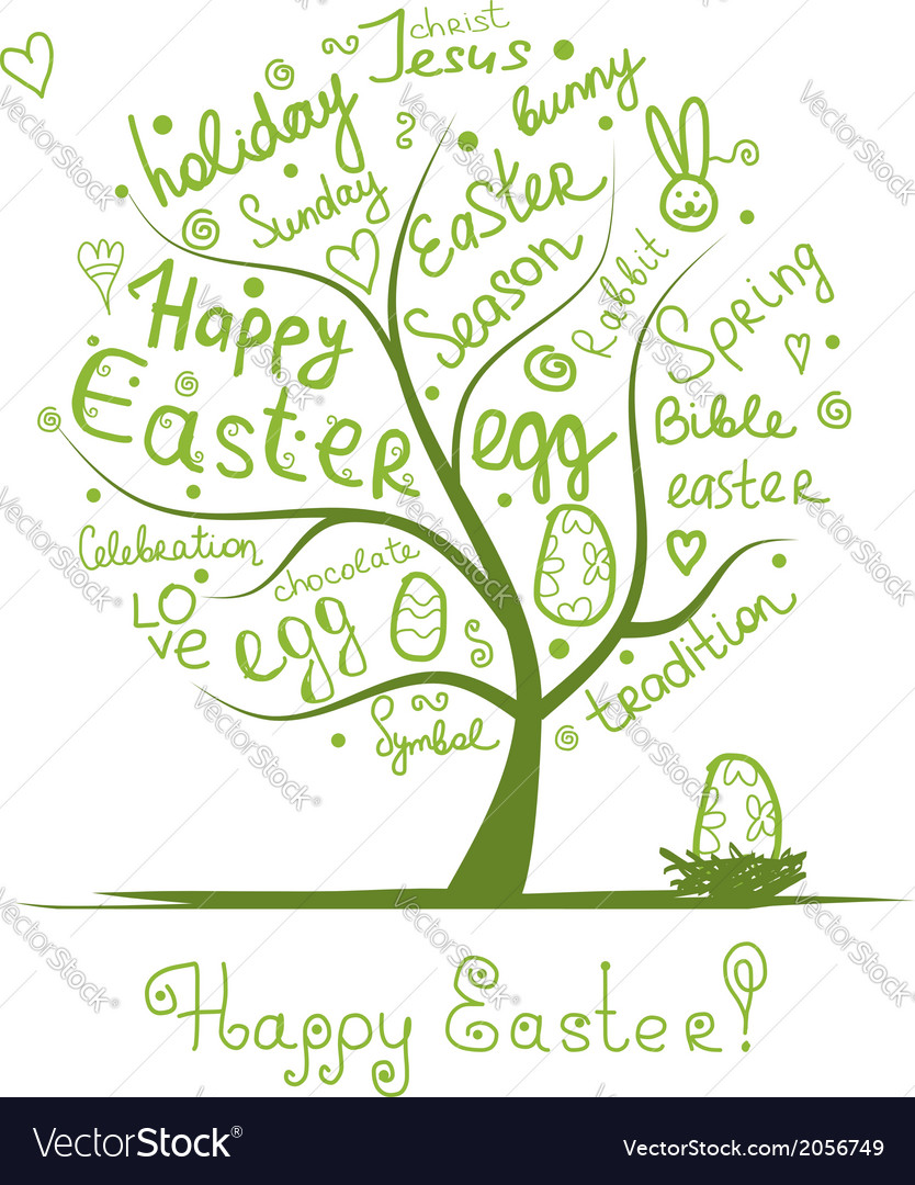 Easter tree sketch for your design vector | Price: 1 Credit (USD $1)