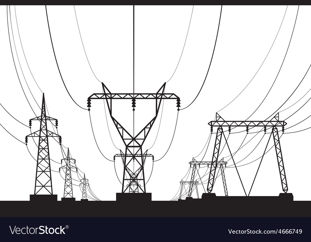 Electrical transmission towers in perspective vector | Price: 1 Credit (USD $1)