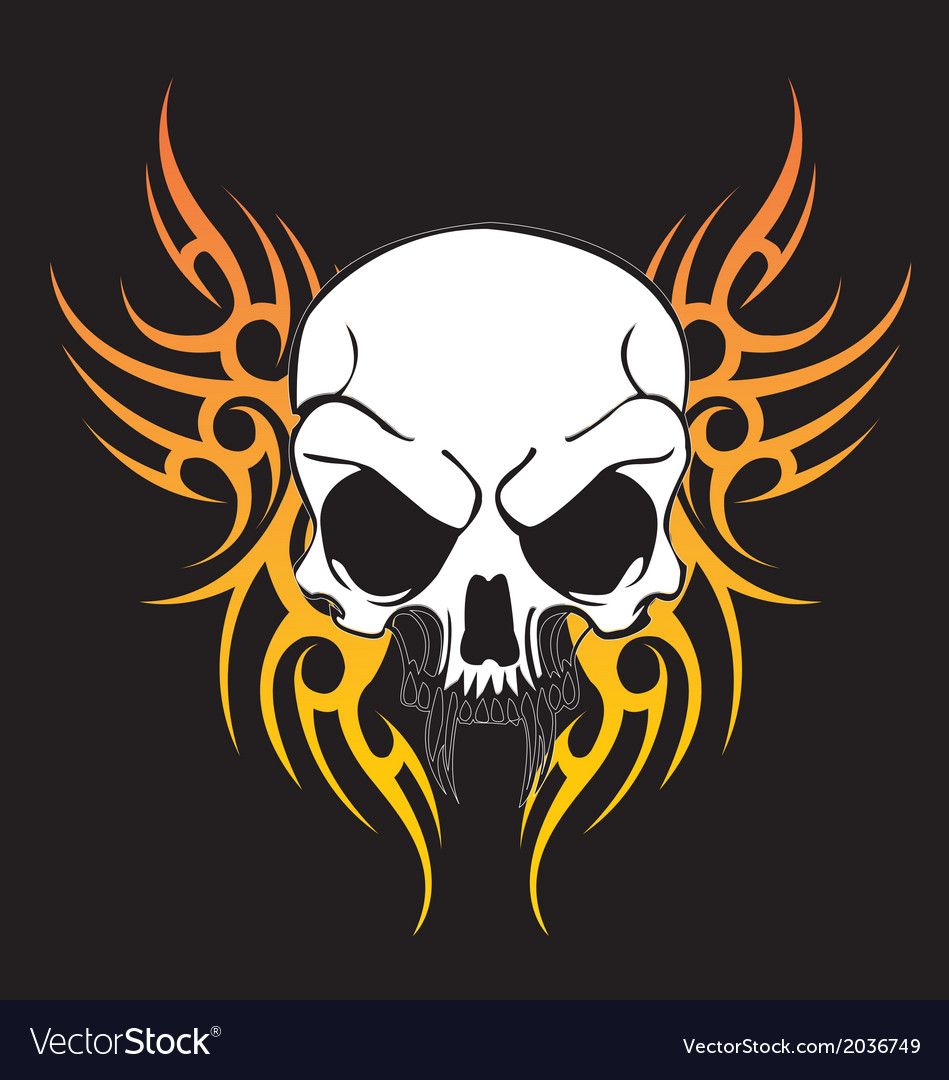 Flying tribal art skull vector
