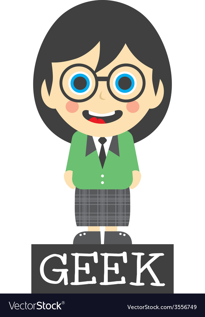 Geek girl cartoon vector | Price: 1 Credit (USD $1)