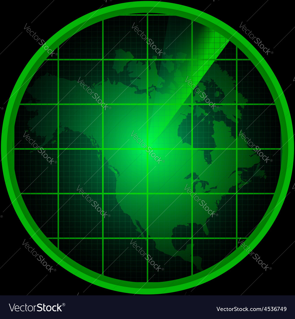 Radar screen with a silhouette of north america vector | Price: 1 Credit (USD $1)