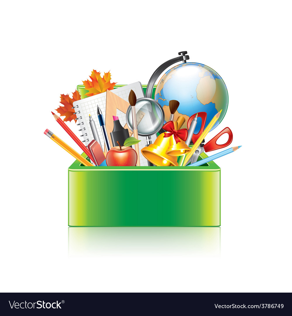 School supplies box isolated vector | Price: 3 Credit (USD $3)