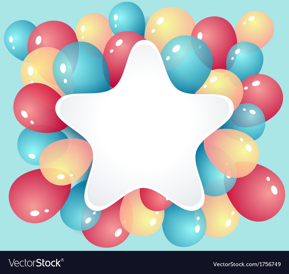 Star frame with balloons vector | Price: 1 Credit (USD $1)