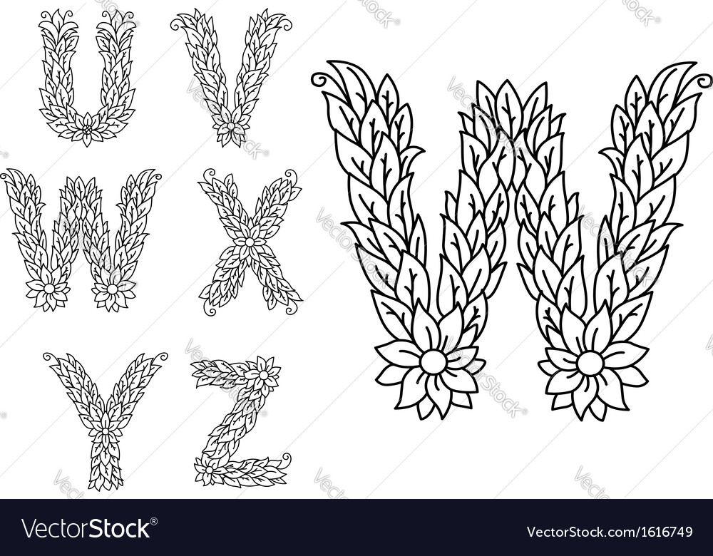 U v w x y and z floral letters vector | Price: 1 Credit (USD $1)