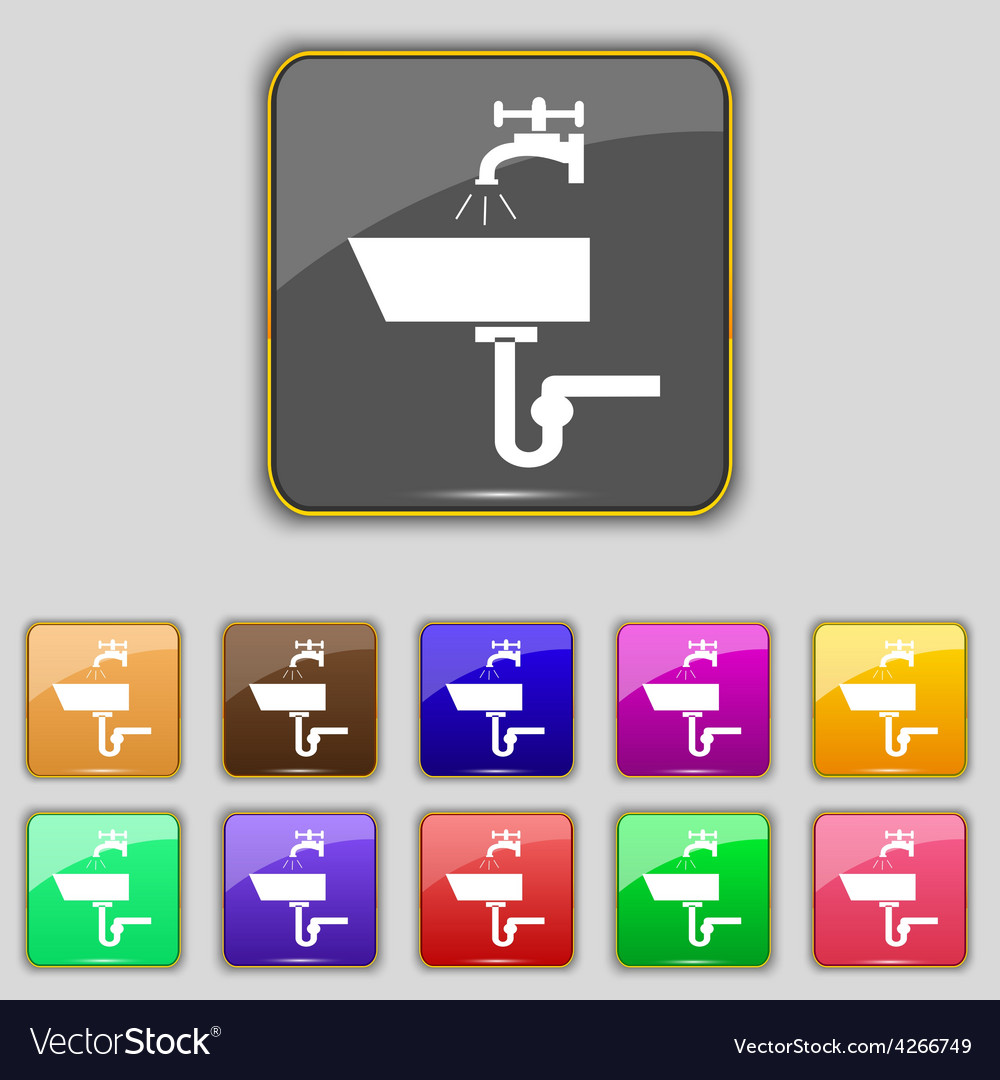 Washbasin icon sign set with eleven colored vector | Price: 1 Credit (USD $1)