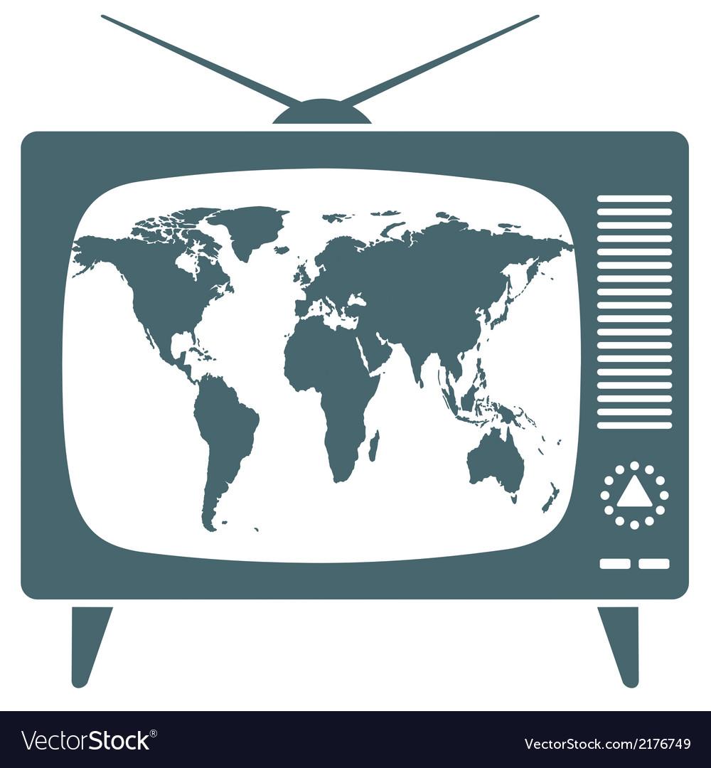 World map in retro tv vector | Price: 1 Credit (USD $1)