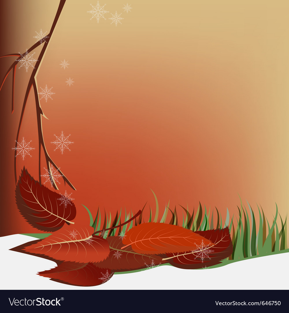 Autumn snow and leaves vector | Price: 3 Credit (USD $3)