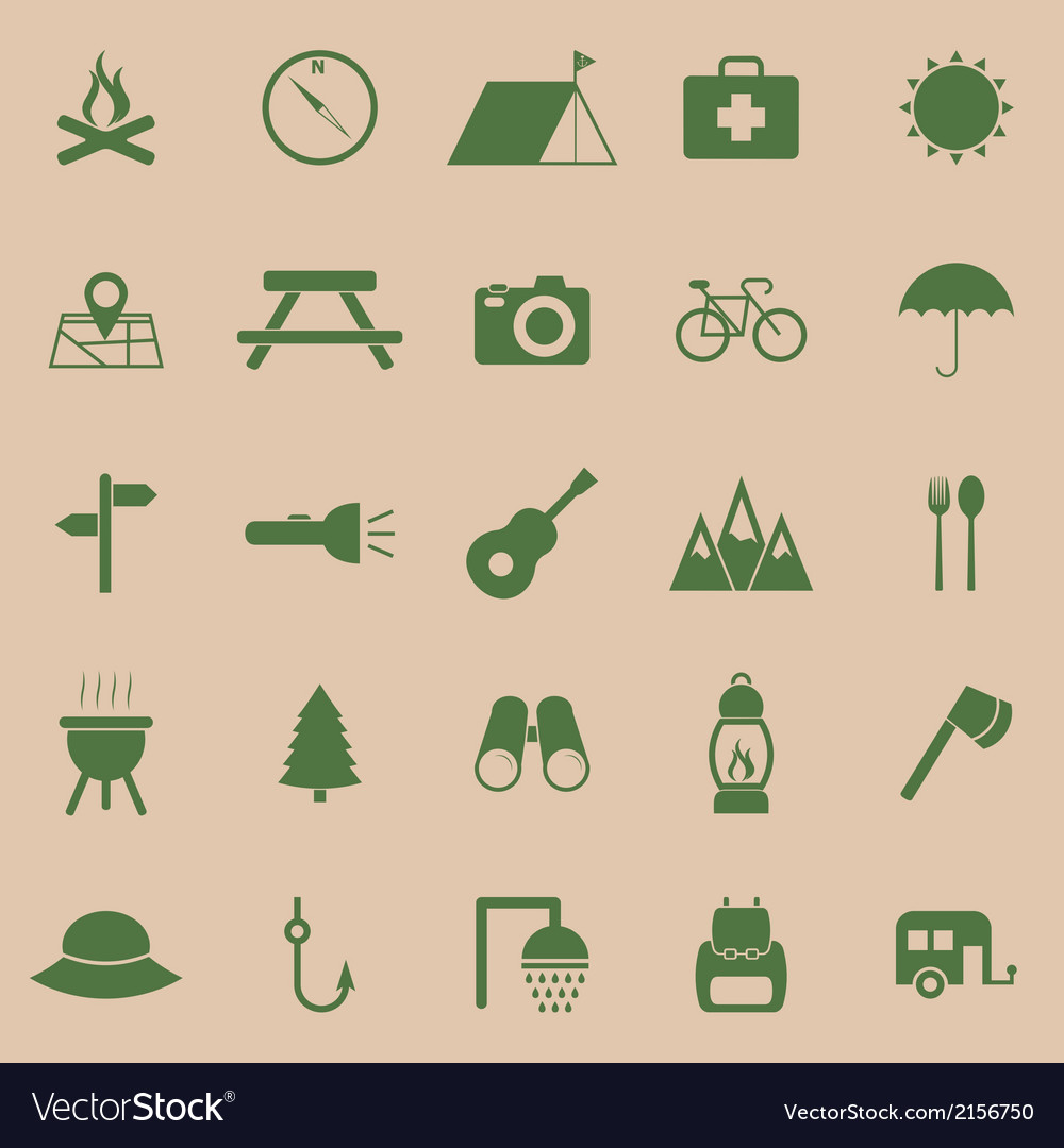 Camping color icons on brown background vector | Price: 1 Credit (USD $1)
