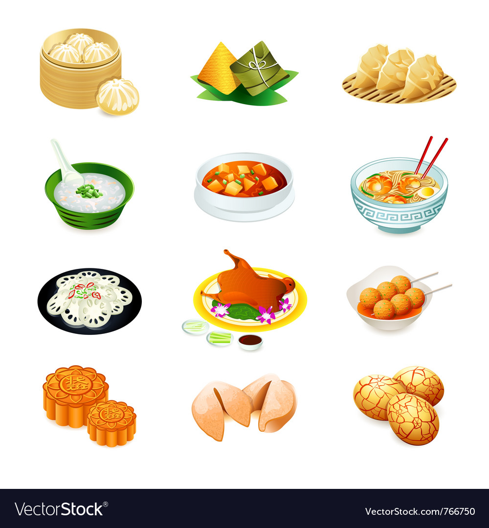 Chinese food icons vector | Price: 3 Credit (USD $3)