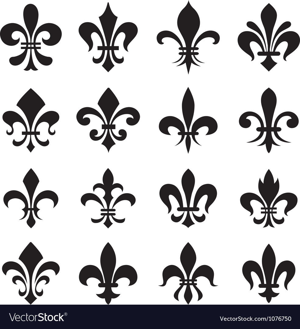 Classic fleur de lys symbol icon set vector | Price: 1 Credit (USD $1)