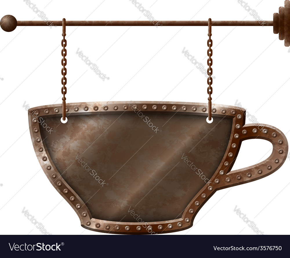 Coffee cup signboard on chains vector | Price: 1 Credit (USD $1)