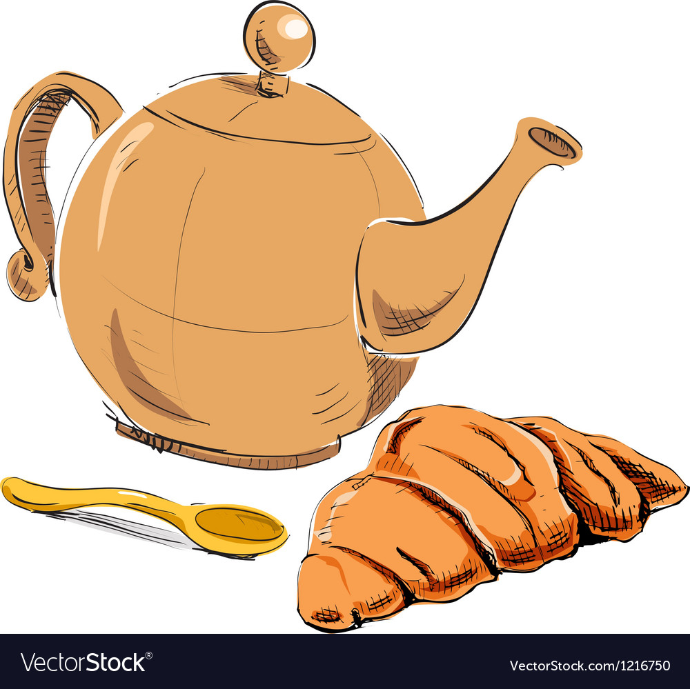 Fresh croissant and kettle vector | Price: 1 Credit (USD $1)