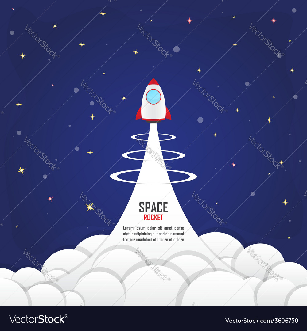Rocket launched into the space vector | Price: 1 Credit (USD $1)