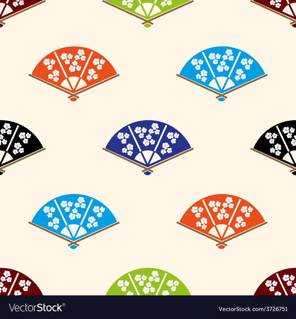 Asian hand fan various colors set seamless pattern vector | Price: 1 Credit (USD $1)
