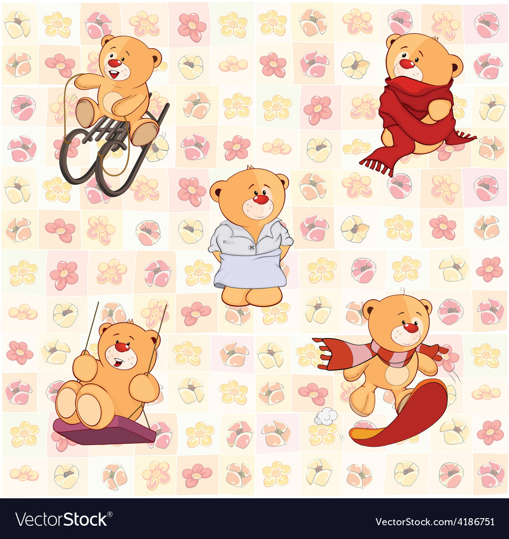 Bear set vector | Price: 1 Credit (USD $1)