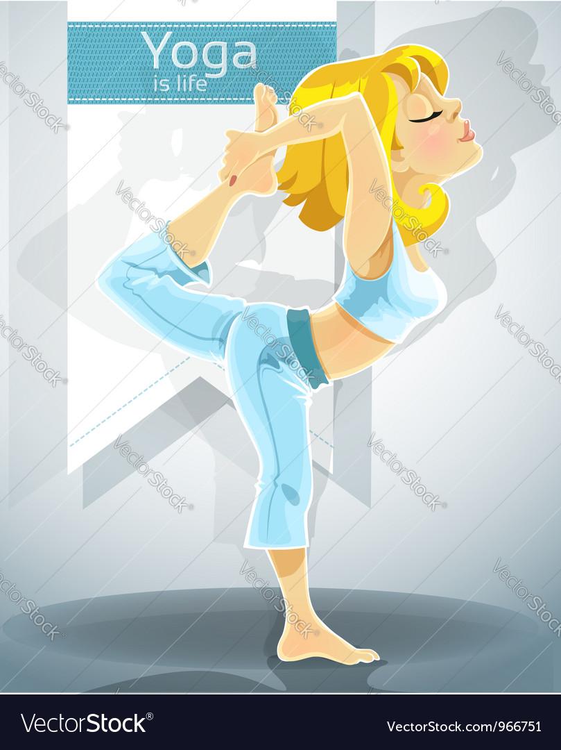 Blond girl in yoga pose nataradzhasana vector   Price: 3 Credit (USD $3)