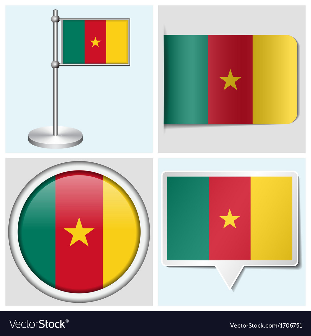 Cameroon flag - sticker button label flagstaff vector | Price: 1 Credit (USD $1)