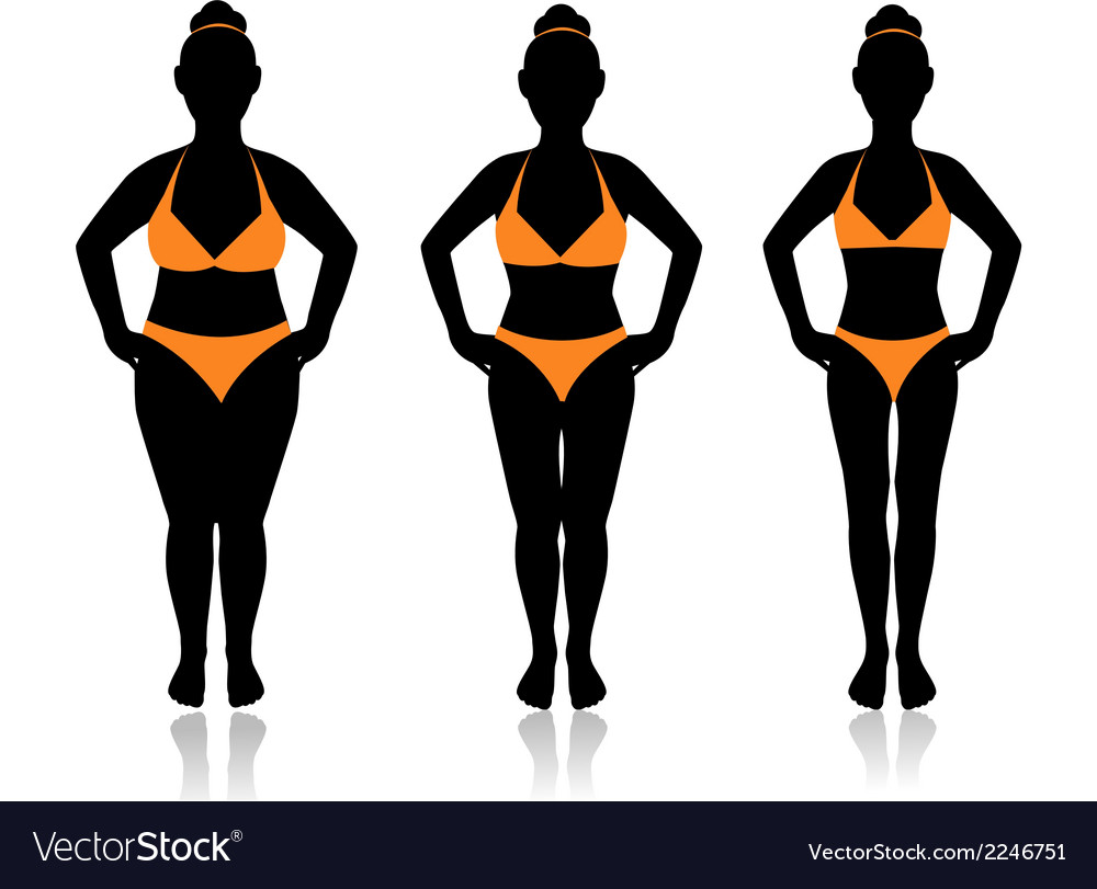 Female silhouette in different weights vector | Price: 1 Credit (USD $1)