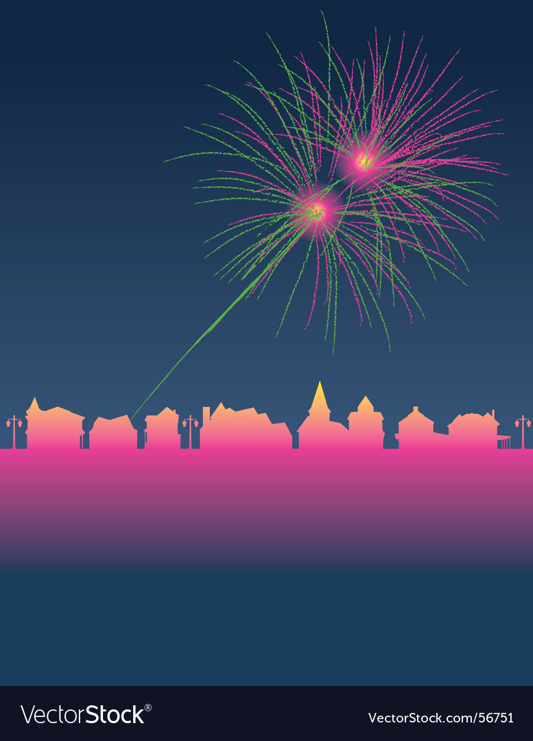 Fireworks town vector | Price: 1 Credit (USD $1)