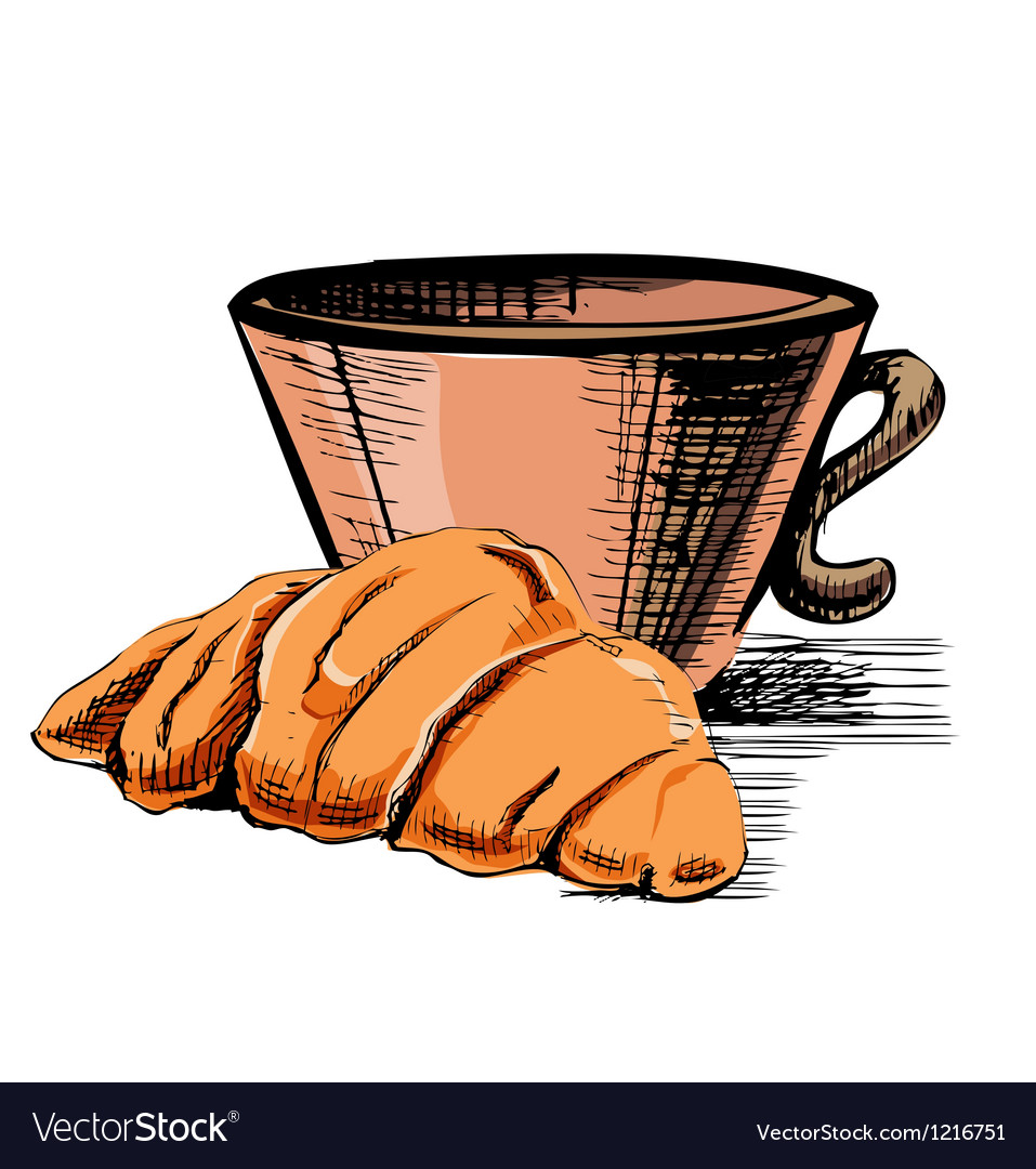 Fresh croissant and cup vector | Price: 1 Credit (USD $1)