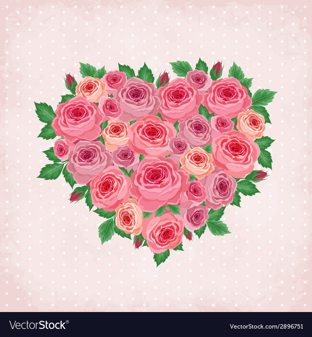 Heart of roses on vintage background vector | Price: 1 Credit (USD $1)