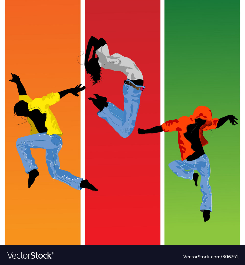 Jumping silhouettes vector | Price: 3 Credit (USD $3)