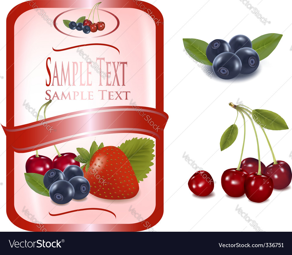 Label with berries vector | Price: 1 Credit (USD $1)