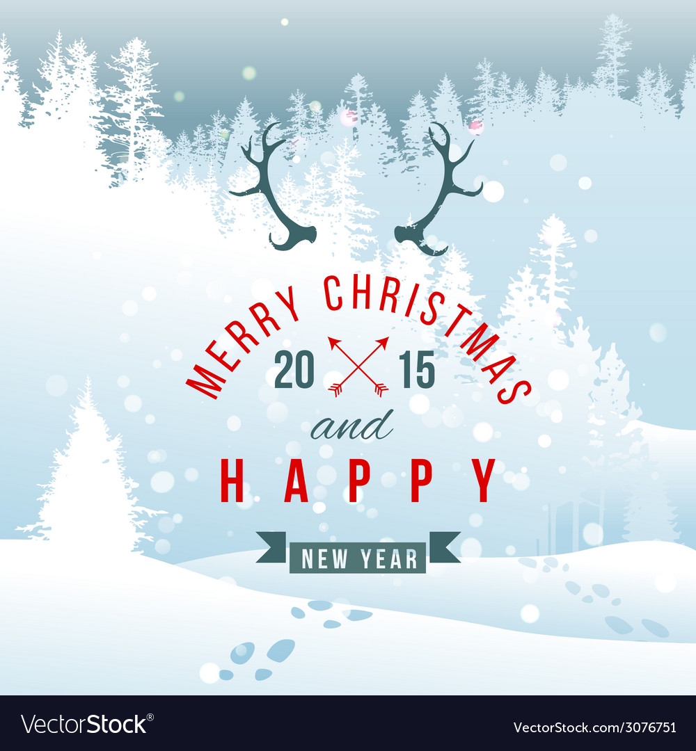 Landscape with christmas type design vector | Price: 1 Credit (USD $1)