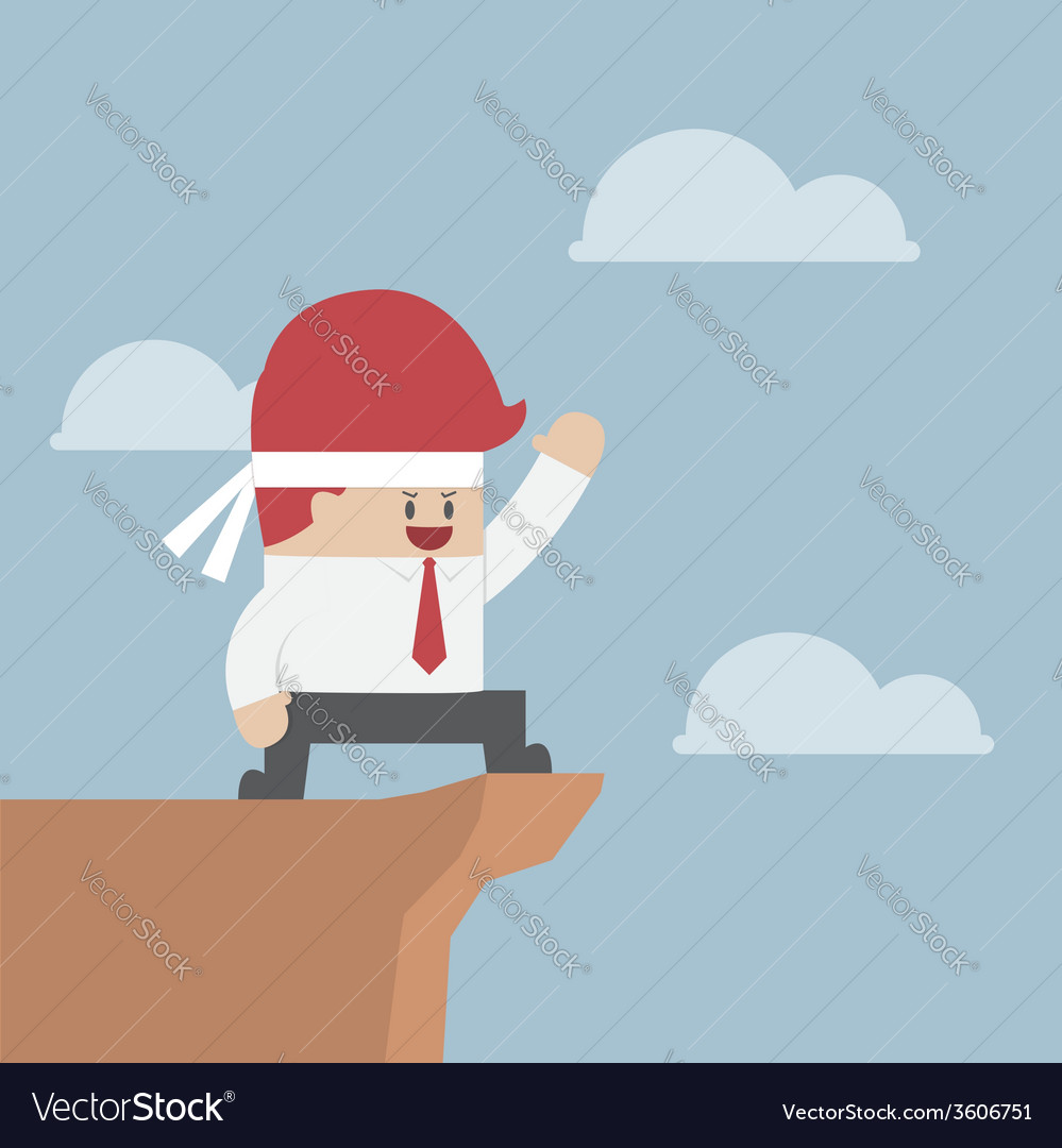 Motivated businessman on the cliff motivation con vector | Price: 1 Credit (USD $1)