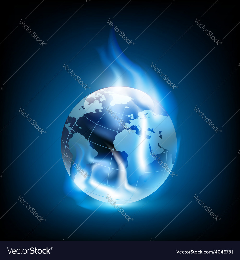 Planet earth and blue flames vector | Price: 1 Credit (USD $1)