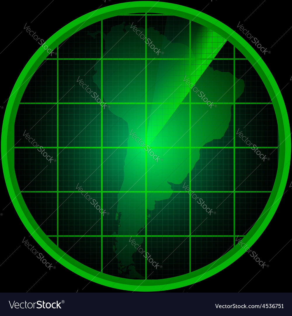 Radar screen with a silhouette of south america vector | Price: 1 Credit (USD $1)