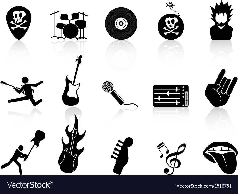 Rock and roll music icons vector | Price: 1 Credit (USD $1)