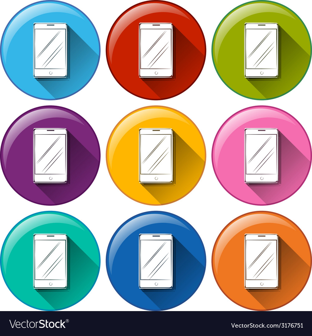 Rounded icons with cellular phones vector | Price: 1 Credit (USD $1)