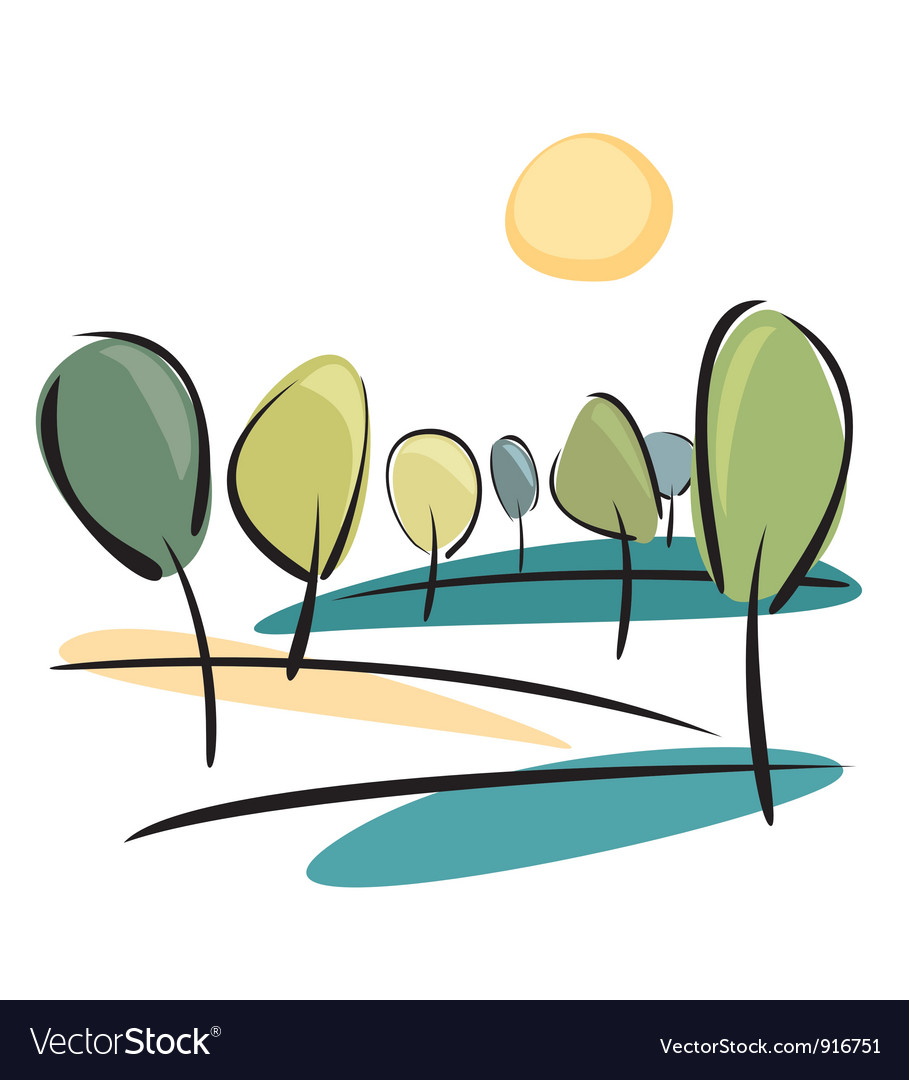 Trees on the hill at sunny day vector | Price: 1 Credit (USD $1)