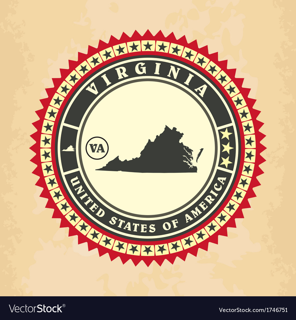 Vintage label-sticker cards of virginia vector | Price: 1 Credit (USD $1)