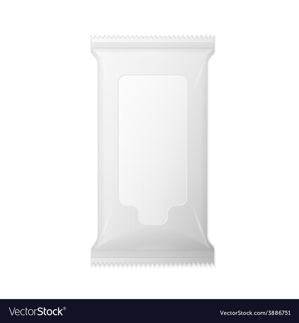 White wet wipes package with flap isolated on vector | Price: 1 Credit (USD $1)