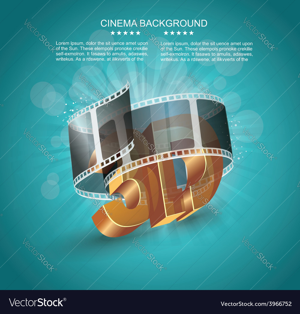 3d word in golden glass with cinema roll vector | Price: 3 Credit (USD $3)