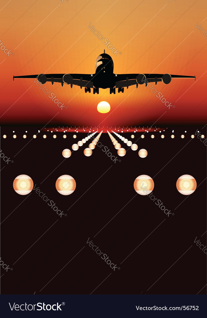Airbus landing at sunset vector | Price: 1 Credit (USD $1)