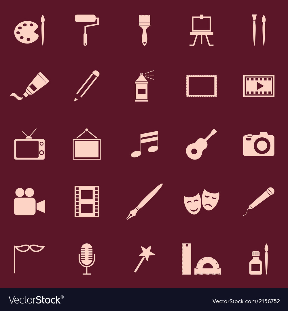 Art color icons on red background vector | Price: 1 Credit (USD $1)