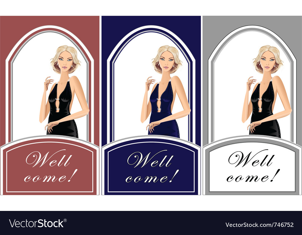 Beautiful blond girl for shop exclusive clothes vector | Price: 3 Credit (USD $3)
