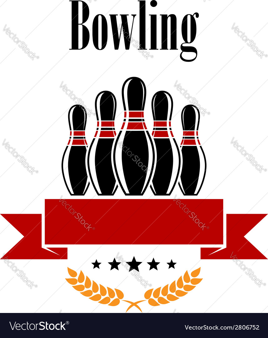 Bowling heraldic banner with ninepins vector | Price: 1 Credit (USD $1)