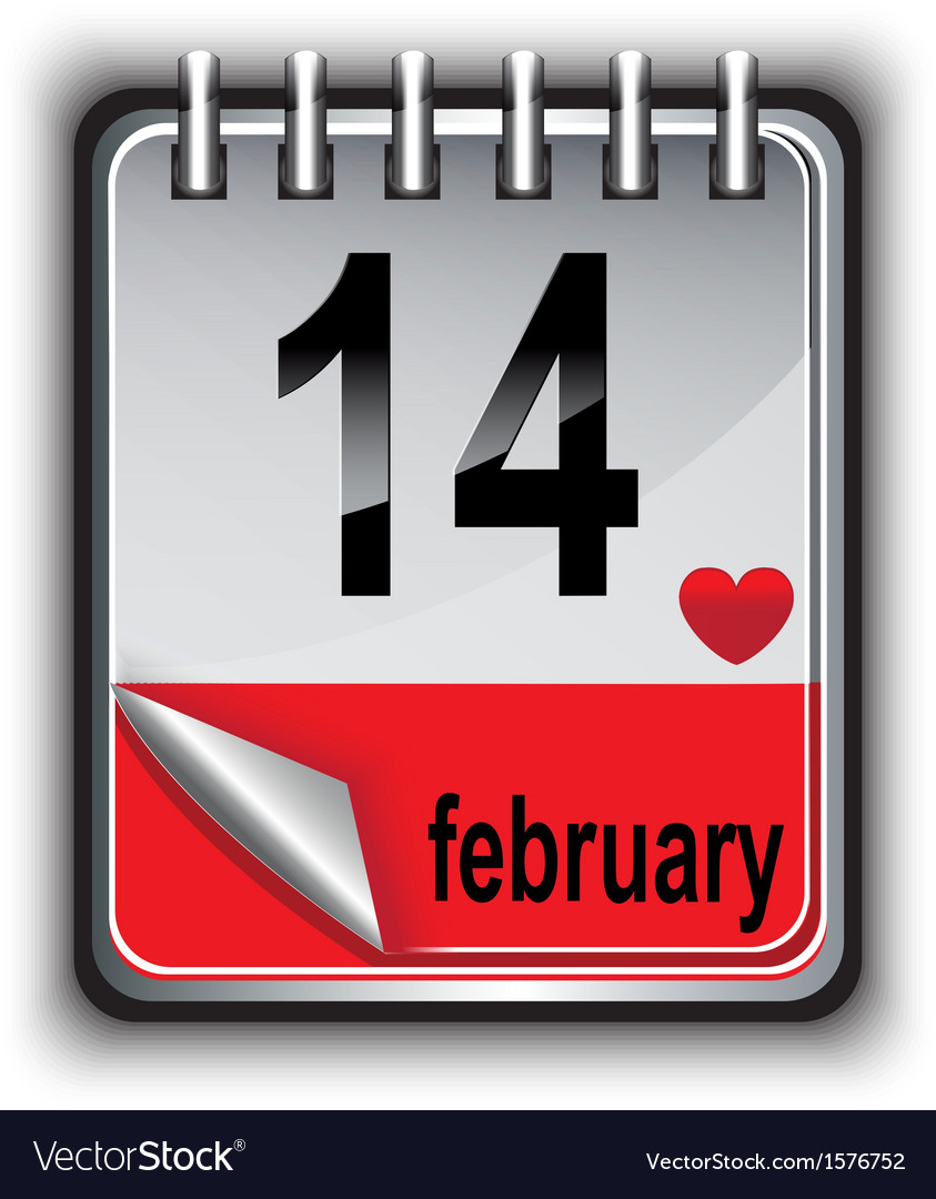 Calendar for february 14 vector | Price: 1 Credit (USD $1)