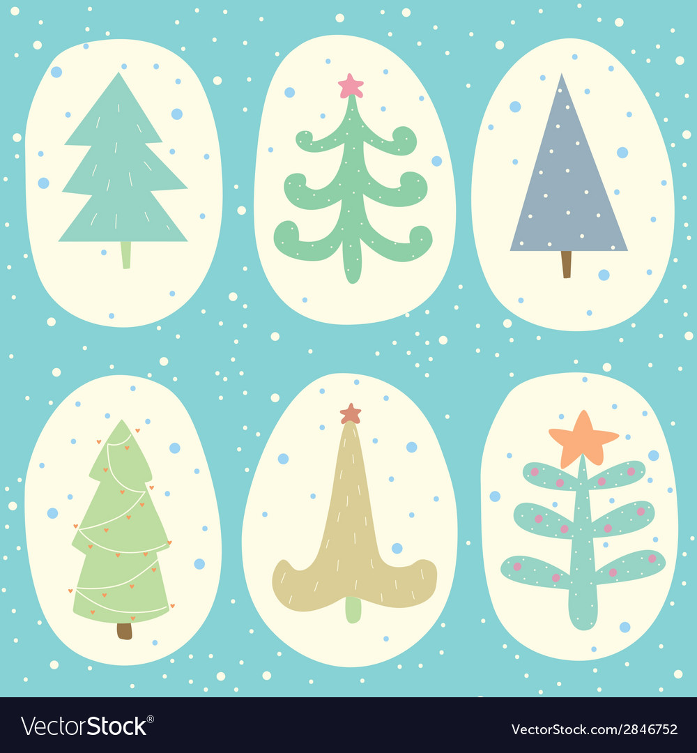 Doodle christmas tree set vector | Price: 1 Credit (USD $1)
